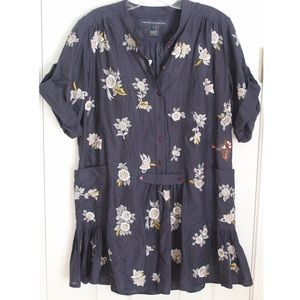 French Connection Mini Embroidered Shirt Dress
